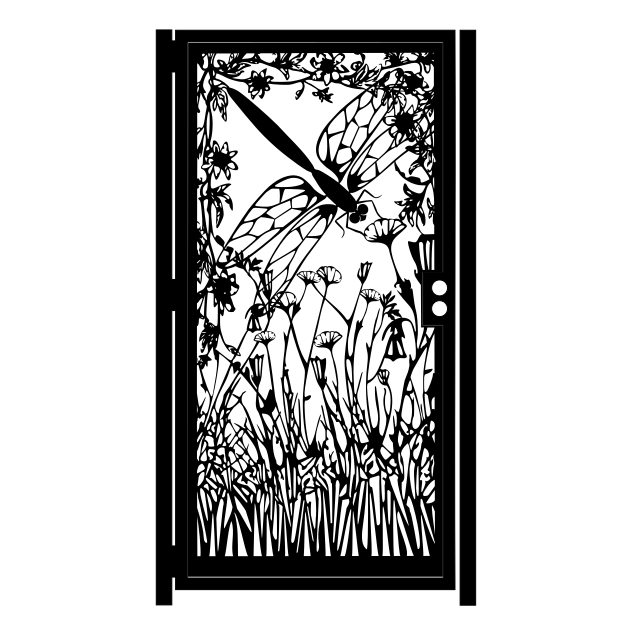 Artistic Steel Gate Steel Panel Art Dragonfly
