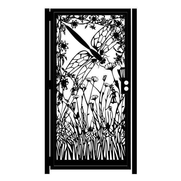 Artistic Steel Gate Steel Panel Art Dragonfly
