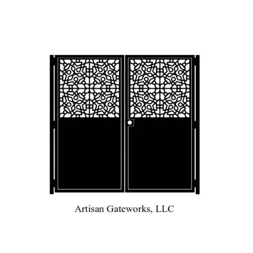 Decorative Steel Gate U2013 Mosaic Design U2013 Artistic Dual Entryway Gate U2013  Landscape Design